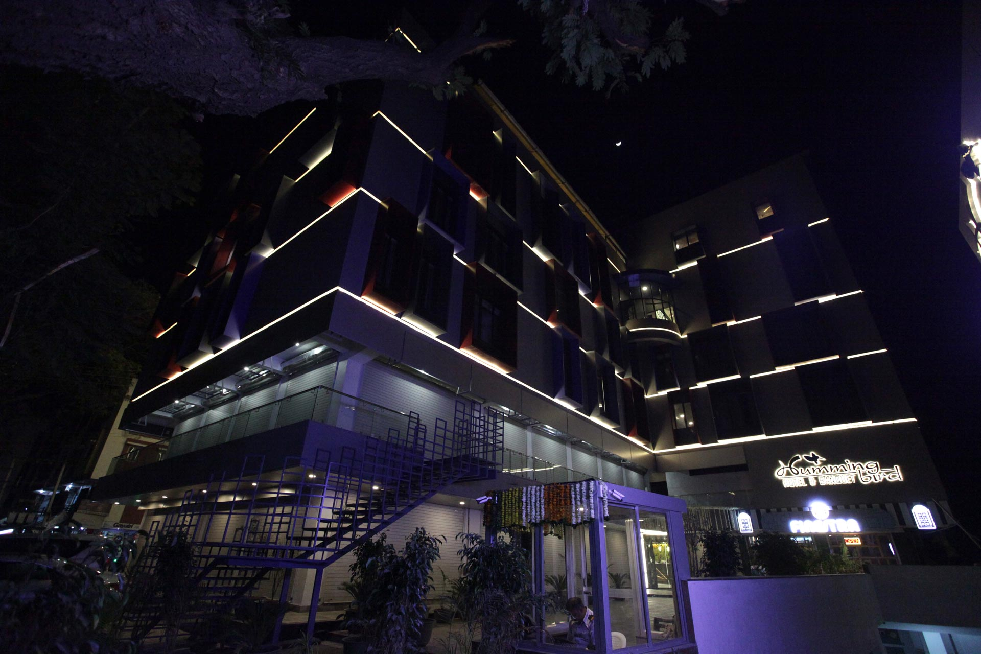 Hummingbird hotel outside night view