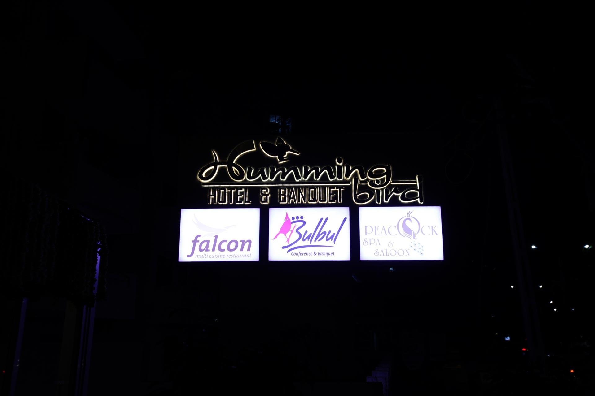 Hummingbird hotel and banquet signange