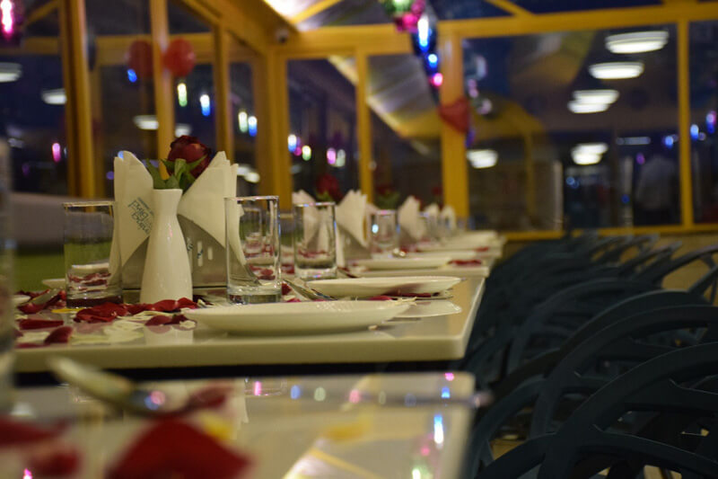 table decoration on events at global falcon restaurant