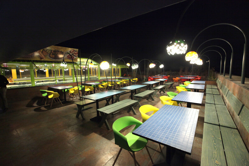 open terrace restaurant with head lamp