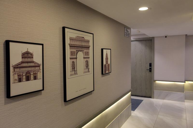 Heritage frames in hotel lobby